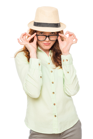 Women are strictly looking at you on a white background Stock Photo