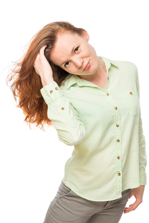 red hair girl: beautiful young girl with long red hair on white background