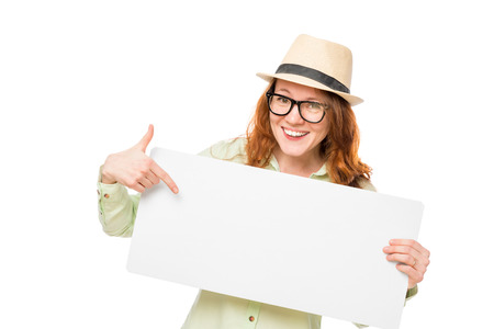 happy girl showing on a blank poster isolated Stock Photo