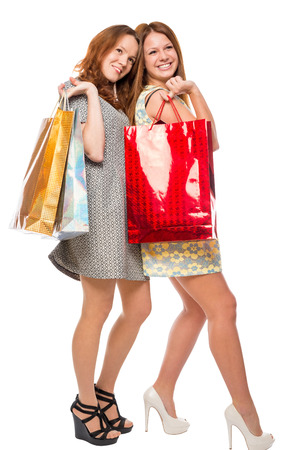 after shopping: happy woman after shopping with purchases on a white background Stock Photo