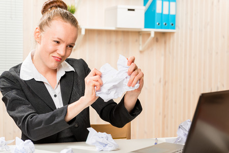 wicked woman: wicked crazy woman vomits documents in the office