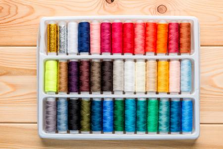 silk thread: a set of silk thread in a box top view Stock Photo