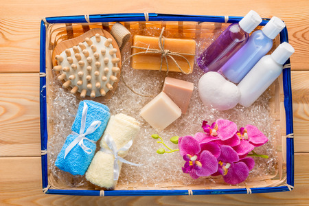 Gift Set for spa care in a straw basket top view