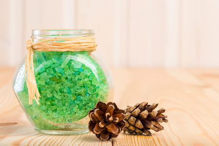 bath additive: sea salt in the pot with an extract of Siberian pine cones