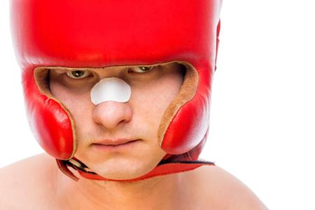 casco rojo: close-up boxers face in red helmet isolated Foto de archivo