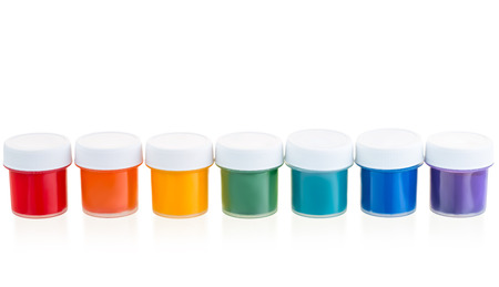 Jars with a paint gouache set in a row isolated Stock Photo