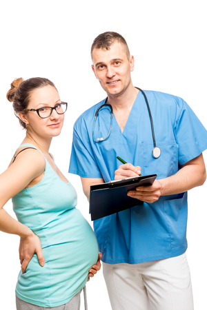 obstetrician: Portrait of a doctor and obstetrician young pregnant mother isolated