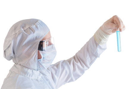 Scientist making tests in a protective suit, isolated on white background