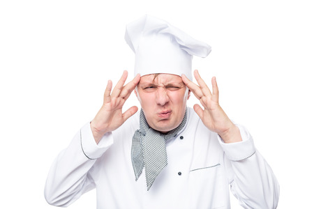overwrought: headache have overwrought chef portrait isolated on white background
