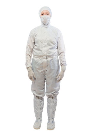 chemist in a white protective suit in full length isolated