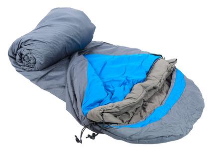 warm sleeping bag isolated on white background