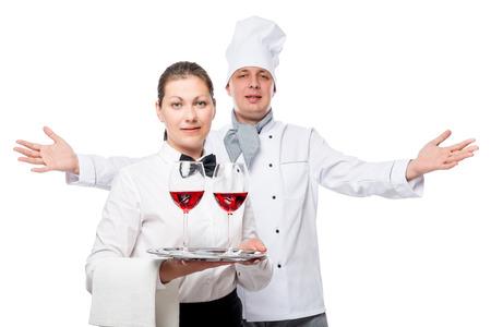 successfull: friendly restaurant team work, a portrait on a white background