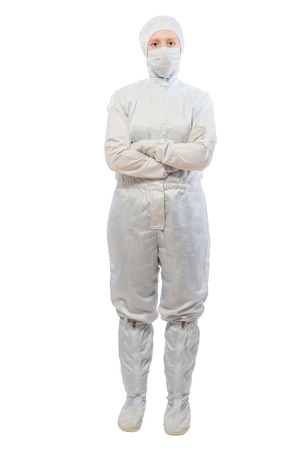 portrait of a successful chemist laboratory on a white background in a protective suit