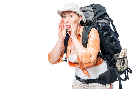 tourist got lost, she makes a gesture calling for help on a white background Stock Photo