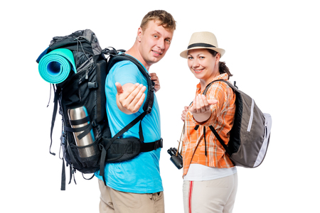 Follow us! A couple of tourists are invited to go camping with them, on a white background Zdjęcie Seryjne