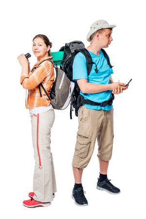 Woman with binoculars and a man with a compass lost, photo on a white background
