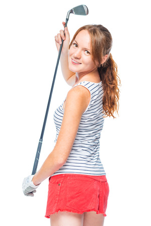 Shapely successful girl with a golf club on a white background