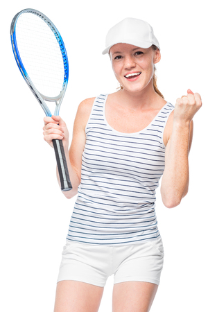 exclaiming: Successful tennis player won the game, the emotional portrait is isolated Stock Photo