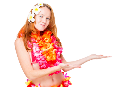Hawaiian girl in traditional clothes and space on the right over white background Stock Photo