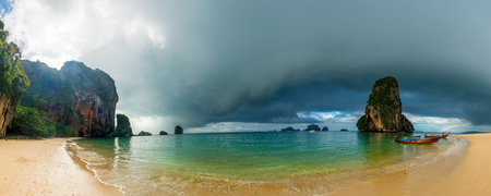 Panoramic view of the sea and Phra Nang beach in inclement weather