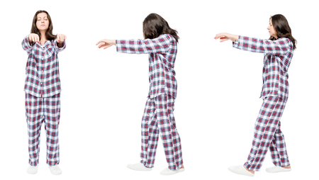 3 portraits in pajamas in a row a woman suffers from sleepwalking Stockfoto