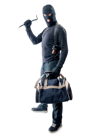 Bandit with crowbar and big bag for loot on white background