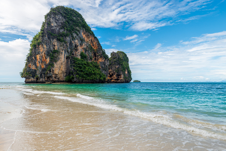 Rock and turquoise sea, scenic landscape