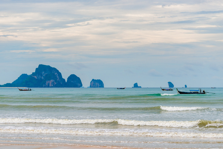 Andaman Sea, Thai boats and beautiful islands on the horizon Stock Photo