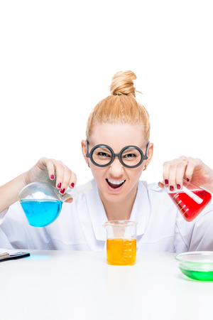 crazy comedian lab assistant chemist with multi-colored test tubes smiling