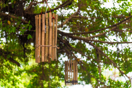 wooden lanterns hung on a tall tree on the waterfront in Thailand