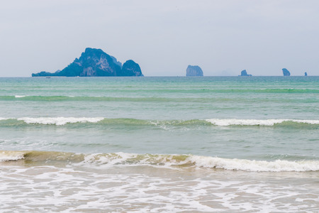 beautiful seascape, turquoise sea water and rocks Stock Photo