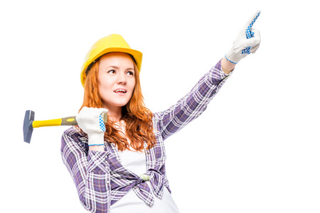 Shot of a woman in a carpenters image on a white background
