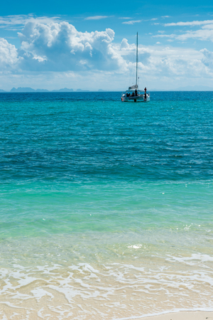 a sunny day in Thailand, a catamaran in the Andaman Sea, a beautiful landscape Stock Photo