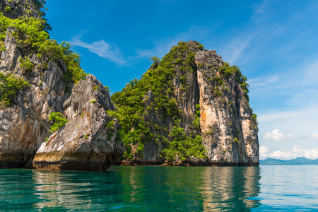 stunningly beautiful scenery of the islands of Thailand in the province of Krabi - clean sea and high steep cliffs Stock Photo