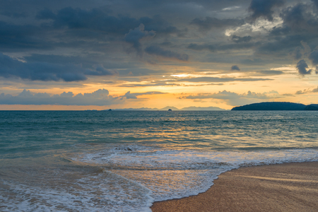 tiring blue clouds over the sea at sunset in Thailand, beautiful seascape