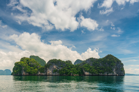 horizontal seascape - beautiful scenic mountains, which are uninhabited islands, Thailand