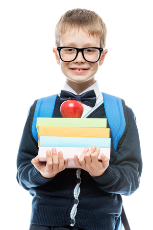 smiling schoolchild with glasses with a pile of books in hands portrait isolated Stock Photo