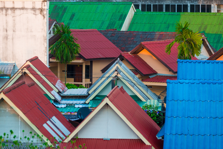 roofs of houses in the city close up