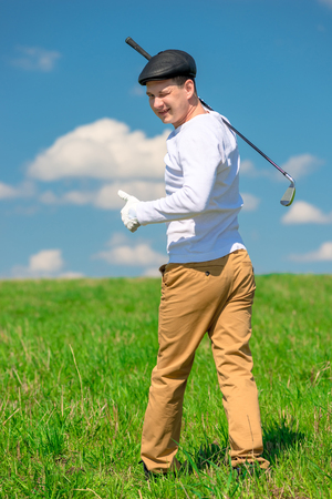 happy golfer celebrates a victory in the game of golf