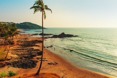 Top view of Vagator Beach in North Goa. Tinted.