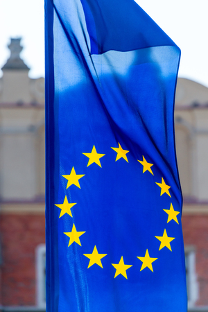 close-up the flag of the European Union fluttering in the wind 版權商用圖片