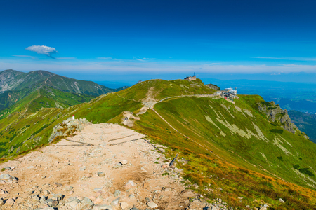 Trail on Kasprowy Wierch in the background of a beautiful sky
