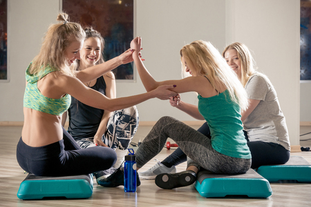 women friends communicate in the gym after a tiring workout Stock fotó