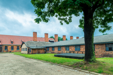 Auschwitz, Poland - August 12, 2017: the buildings of Auschwitz concentration camp