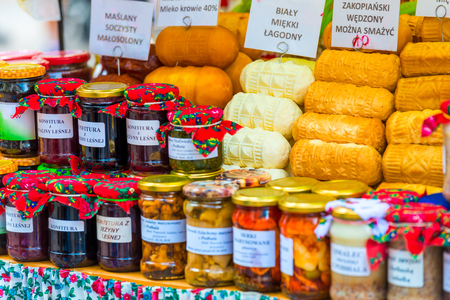 traditional cheeses of Zakopane in the showcase of the market in Poland