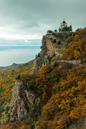 Autumn landscape, view of Foros church in Crimea against the background of the Black Sea, Russia. Temple of the Resurrection of Christ. Stock Photo