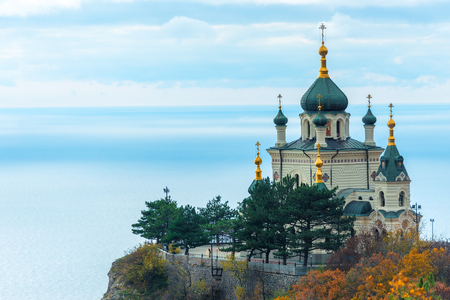 Beautiful Foros Church, Church of the Resurrection of Christ on a rock in the Crimea against the background of the sea, Russia