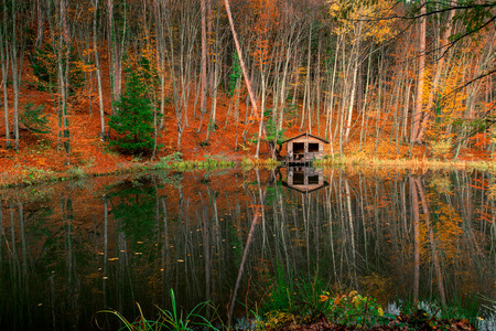beautiful landscape - an old fishermans house near the forest pond on an autumn afternoon Stok Fotoğraf