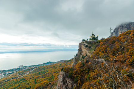 View of the beautiful Church of the Resurrection of Christ in Foros, Crimea Russia Stock Photo