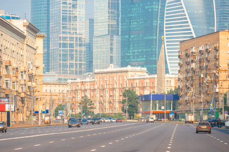 Moscow city street against the background of Moscow City skyscrapers in the early morning